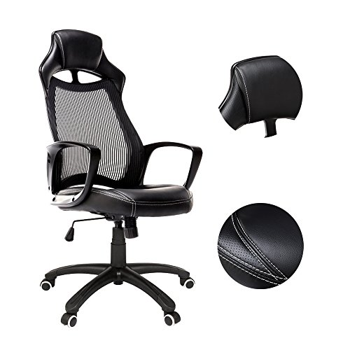 Summer Chair, Homall Gaming Chair Fashionable Ergonomic Office Chair High Back Executive Chair,Racing Style Swivel Computer Desk Lumbar Support Desk Chair With Height Adjustable (Black/White)