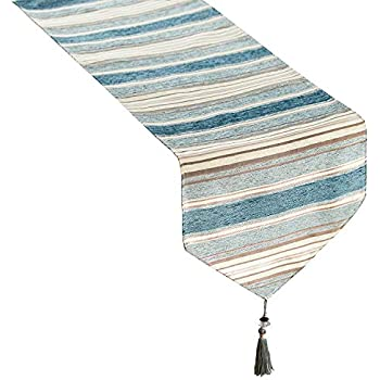 Top Finel Dining Table Runner 72 inches, Striped Cotton Linen Table Runners with Tassels for Party Holiday Wedding Gathering, Teal