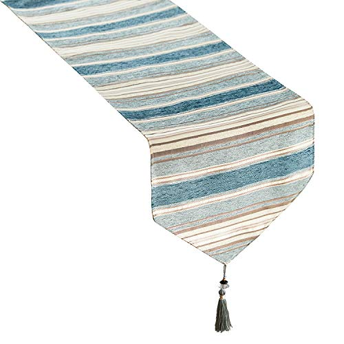 Top Finel Dining Table Runner 82 inches, Striped Cotton Linen Table Runners with Tassels for Party Holiday Wedding Gathering, Teal (Runners Tablecloth)