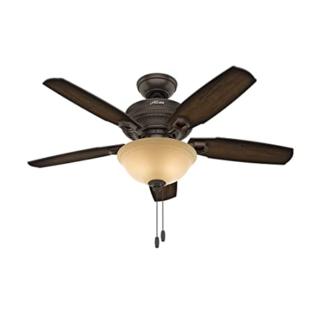 Hunter Indoor Ceiling Fan with light and pull chain control – Ambrose 44 inch, Onyx Bengal, 52232