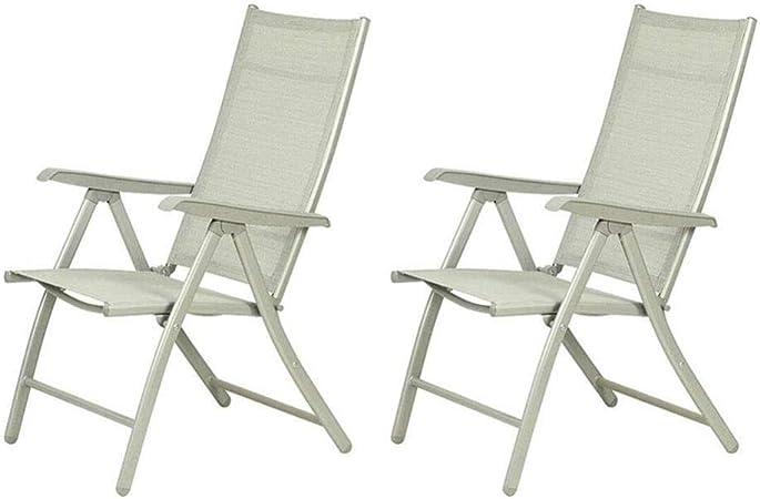 FENGFAN Sillas de jardín Plegables Respaldo de Aluminio Silla reclinable reclinable Apoyabrazos Sillón Exterior (Color : 2 Pieces): Amazon.es: Hogar