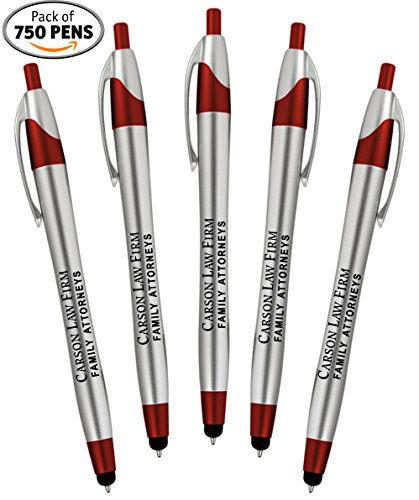 Personalized Writing Ink Ballpoint Novelty Pens, Custom Printed with Your Logo & Text ''Click to Write - Click for Stylus Tip!'' Works with Android, iPhone, iPads (Pack of 750 Pens - Red Barrels) by 911PENS