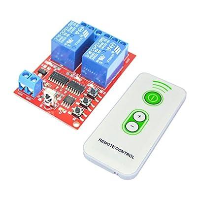 MonkeyJack 2 Channel 12V IR Receiver Relay Driver Board Module + White Remote Control
