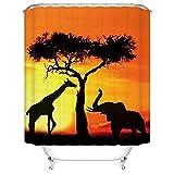 CHARMHOME Africa Elephant Giraffe Wild Animal Sunset Tree Shadows Bathroom Mildew Resistant Fabric Waterproof Shower Room Decor Shower Curtains 72'' x 72''