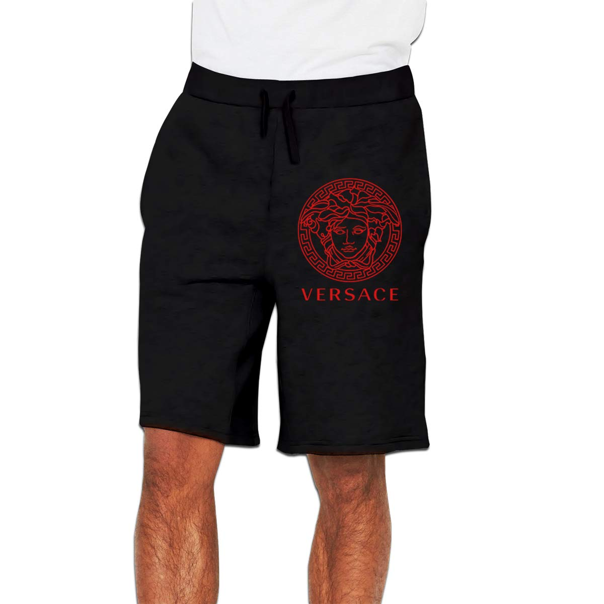 Zinmmerm Mens Casual Versace-red-Logo Sweat Shorts