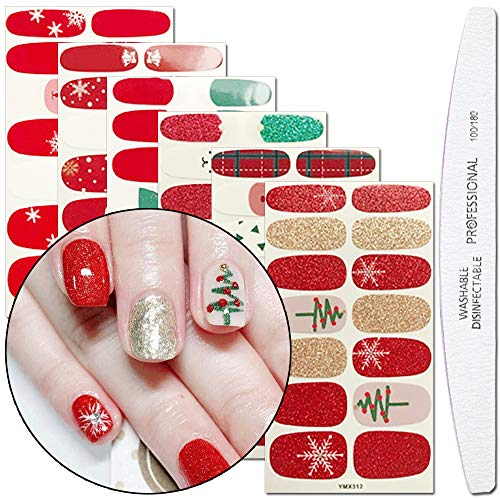 WOKOTO 6 Sheets Christmas Adhesive Nail Polish Stickers With 1Pcs Nail File Deer Snowman Nail Wraps Decal Strips Manicure Kit
