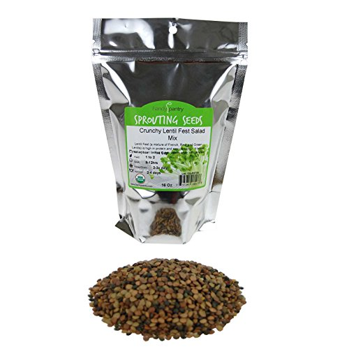 (Crunchy Lentil Fest Sprouting Seed Mix- 1 Lb- Organic- Green, Red & French Lentils- Edible Seeds, Salad, Soup, Sprouts & Food Storage)