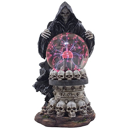 Gothic Pedestal - Evil Grim Reaper with Crystal Ball of Lightning Bolts on Pedestal of Skulls Statue and Decorative Table Lamp for Halloween Lighting Decorations & Scary Gothic Décor Lights As Spooky Fantasy Gifts