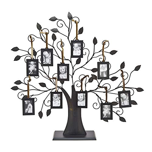 Philip Whitney Metal Family Tree Picture Frames with 10 Hanging Photo Frames (Wall Tree Photo Frame)