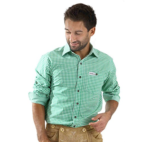 Almbock Trachten-Hemd Vitus in mittel-grün kariert - für Männer, kurze Ärmel, für Oktoberfest, modernes Design, exclusiv, zu Jeans oder Lederhose