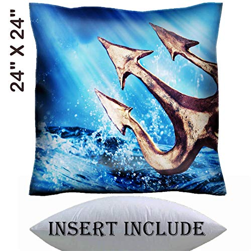 MSD 24x24 Throw Pillow Cover with Insert - Satin Polyester Pillow Case Decorative Euro Sham Cushion for Couch Bedroom Handmade Image 28047431 Poseidon s Trident Emerging from The sea Photo Composite