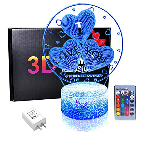 - I Love You Gift 3D Night Light with 20 Color Changing Mode Touch & Remote Control Bedside Desk Table LED Lamp for Women Girls Unique Present for Valentine's Day Anniversary (UL Wall Adapter Included)