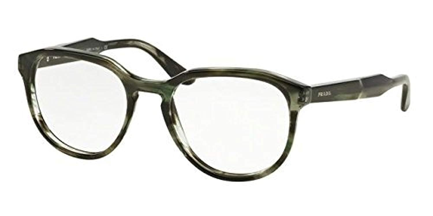 41be387df0d Amazon.com  Prada JOURNAL PR18SV Eyeglass Frames UEP1O1-51 - Striped Grey  Green PR18SV-UEP1O1-51  Clothing