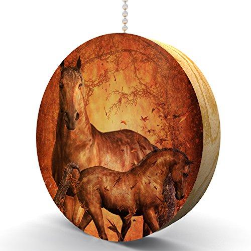 Autumn Horse and Foal Hardwood Oak Fan / Light Pull ()