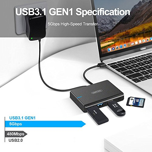 Unitek 3 Ports USB 3.0 Hub with 3-Slots Card Reader Combo with 5V 2A Adapter for iMac, MacBook, MacBook Pro, MacBook Air, Mac Mini, ChromeBook Pixel, Microsoft Surface Pro, Lenovo Yoga, or Any PC by Unitek (Image #1)