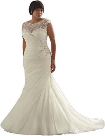 Fpdress Discount Opulent Mermaid Plus Size Wedding Dresses At Amazon Women S Clothing Store