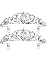 amazon headbands hair accessories beauty personal care 1970s Cosmetics pixnor 2pack princess tiara with b crystal rhinestones wedding bridal tiara headband