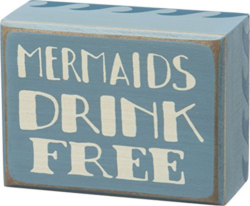 Vintage-Style-Mermaids-Drink-Free-Blue-Ocean-Waves-Wooden-Box-Sign-26002-Beach