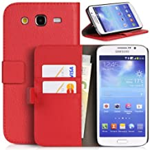 Topratesell Structure Plus Wallet Case for Samsung Galaxy Mega 5.8 Gt-i9150/gt-i9152 with Credit Card Pockets and Stand-up Feature (Red)