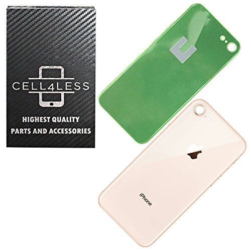 Back Glass Cover OEM Battery Door Replacement w/Adhesive & Removal Tool for Apple iPhone 8 (Gold)