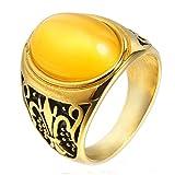 LANCHENEL Men's High Grade Smear Gold Plating Diamond Titanium Steel Rings,Yellow,Size 11