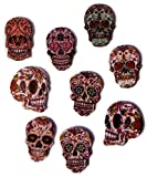 """Fancy & Decorative {16 x 24mm w/ 2 Holes} 10 Pack of Large Size """"Flat"""" Sewing & Craft Buttons Made of Genuine Wood w/ Cool Floral Sugar Skull Calavera Mexican Skeleton Design {Assorted Colors}"""