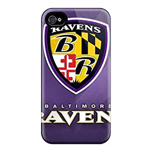 Shock Absorbent Hard Phone Cover For Iphone 4/4s With Customized Colorful Baltimore Ravens Pattern SherriFakhry