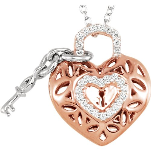 Sterling Silver and Rose Plate Diamond Heart Lock and Key Necklace, 18'' by The Men's Jewelry Store