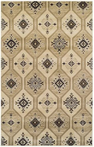 Superior Modern Aurora Collection Area Rug, 10mm Pile Height with Jute Backing, Vintage Kilim-Inspired Pattern, Anti-Static, Water-Repellent Rugs – Cream, 8 x 10 Rug