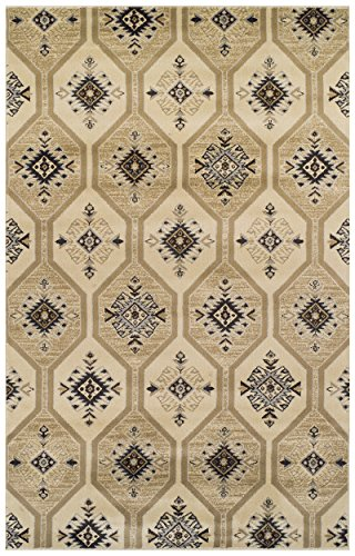 Superior Modern Aurora Collection Area Rug, 10mm Pile Height with Jute Backing, Vintage Kilim-Inspired Pattern, Anti-Static, Water-Repellent Rugs – Cream, 5 x 8 Rug