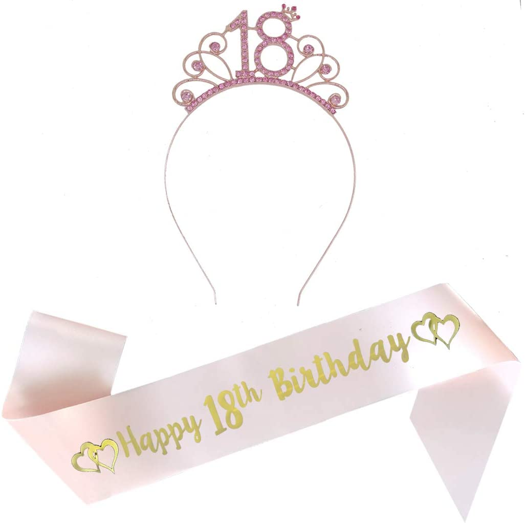 18th Pink Birthday Tiara and Pink Sash Glitter Satin Sash and Crystal Rhinestone Tiara Crown for Happy 18th Birthday Party Supplies Favors Decorations 18th Birthday Party Accessories