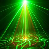 SUNY 3 Lens 18 Gobos Effect Red Green Laser Blue LED Professional Projector Sound Active Remote-Controlled Stage Light for DJ Disco Family Party Carnival Home Decorative Light Z18RG