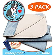 PORKCHOP'S Washable Pee Pads for Dogs, Reusable Pet Pee Pads, Reusable Pee Pads for Dogs, Machine Washable, Waterproof (3) PACK LARGE 23x36, Housebreaking, Incontinence, Quality 4 Layer Protection