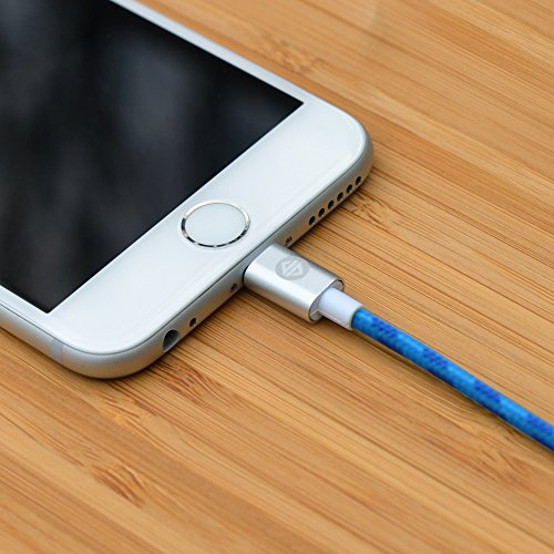 Synapse Cable- 1M (3.3 feet) Apple MFi Certified Lightning to USB Braided Cable with Aluminum Housing Tips for iPhone 6(Blue / Sky Blue)