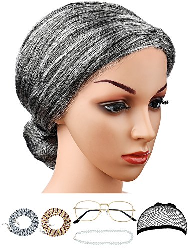 Hestya 6 Pieces Old Lady Costume Granny Wig Accessories for Dress Up (Style Set 2)