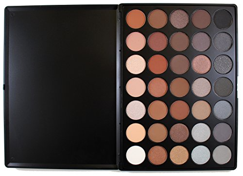 MORPHE Pro 35 Color Eyeshadow Makeup Palette - Koffee Palette 35K - Professional shimmer coffee eyeshadow palette with intense - Blue Color Gunmetal