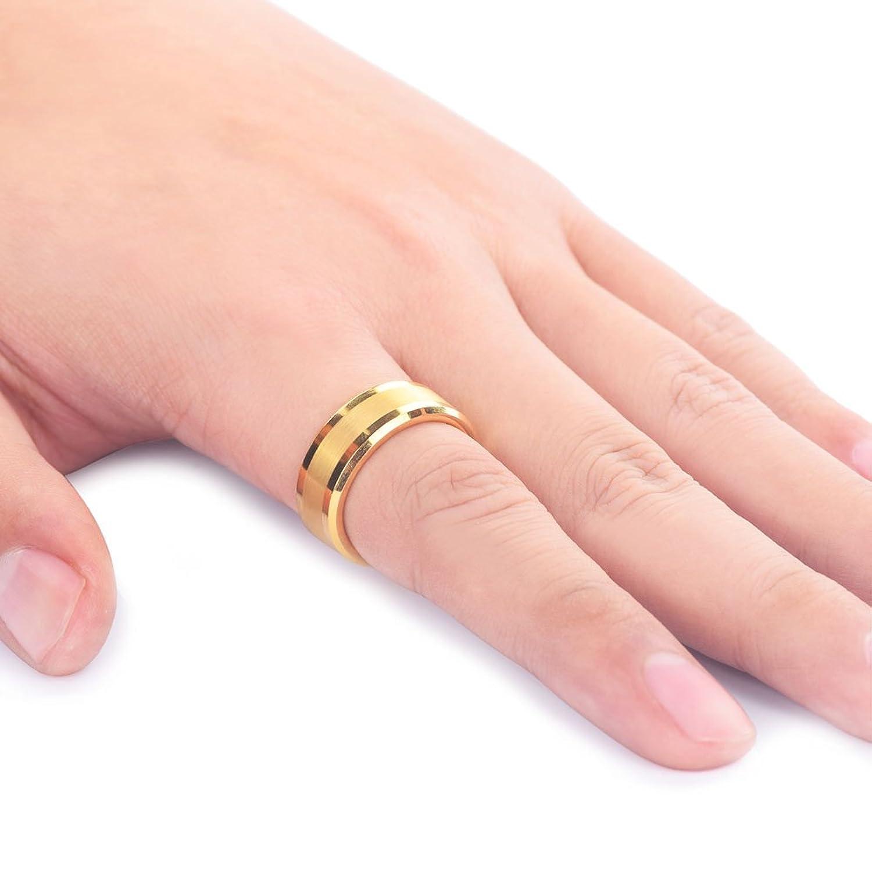 Gold Tungsten Steel Ring Matte Brushed Center Mens Wedding Band 8mm ...