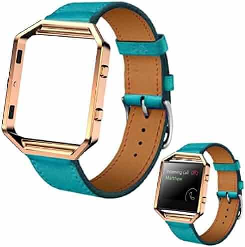 53776cdb8d7 Voberry Luxury Genuine Leather Watch band Wrist strap + Metal Frame For  Fitbit Blaze Smart Watch
