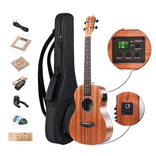 Left Handed - Caramel CT402L All Solid Mahogany Tenor Acoustic & Electric Ukulele With Truss Rod with Aquila Strings, Padded Gig Bag, Strap and EQ cable
