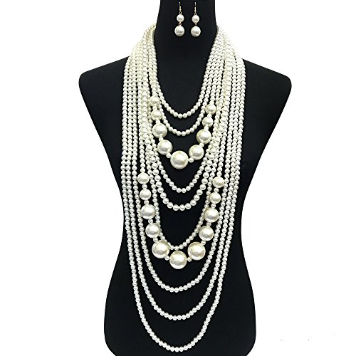 Fashion 21 Women's Chunky Multi-Strand Simulated Pearl Statement Necklace and Earrings Set in Cream Color (Cream - Style B) -