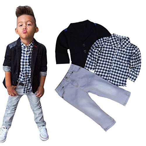 Baby Boy's Clothes, Mchoice 1Set Kids Boys Business Suit+Shirt Tops+Trousers Children Clothes Outfits (6~7 Years old, Black) by MChoice