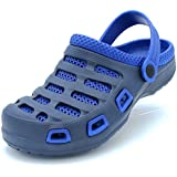 Men's Garden Clogs Shoes Slip-On Casual EVA Two-Tone Lightweight Slipper Sandals (7 D(M) US, Navy/Royal Blue)