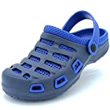 Men's Garden Clogs Shoes Slip-On Casual EVA Two-Tone Lightweight Slipper Sandals (9 D(M) US, Navy/Royal Blue)