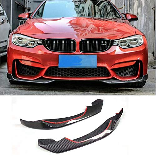 KERIST Carbon Fiber Front Bumper Lip Splitter fits BMW F80 M3 F82/F83 M4 2014-2019 Customized CF AC Look Upper Spoiler Winglets Vents Cover