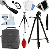 PLR Optics Deluxe Essential STARTER Kit - Includes: Tripod + Case + Hand Strap + Mini Tipod + Cleaning Bundle + Memory Card Wallet + Screen Protector + Lens Cap Strap For The Canon Digital EOS Rebel SL1 (100D), T5i (700D), T4i (650D), T3 (1100D), T3i (600D), T1i (500D), T2i (550D), XSI (450D), XS (1000D), XTI (400D), XT (350D), 1D C, 70D, 60D, 60Da, 50D, 40D, 30D, 20D, 10D, 5D, 1D X, 1D, 5D Mark 2, 5D Mark 3, 7D, 6D Digital SLR Cameras