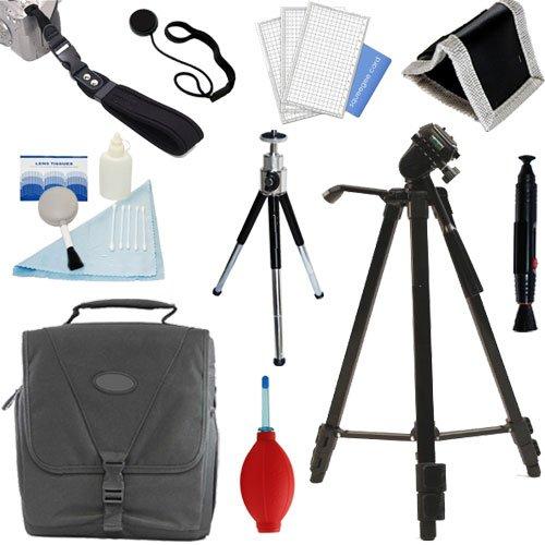 PLR Optics Deluxe Essential STARTER Kit - Includes: Tripod + Case + Hand Strap + Mini Tipod + Cleaning Bundle + Memory Card Wallet + Screen Protector + Lens Cap Strap For The Olympus Evolt E-30, E-300, E-330, E-410, E-420, E-450, E-500, E-510, E-520, E-600, E-620, E-1, E-3, E-5 Digital SLR Cameras ()