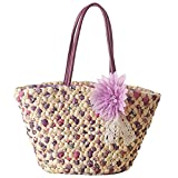 Women Straw Tote, JOSEKO Summer Beach Bag with Inner Pocket Flower Bag Shoulder Bag for Ladies Purple 17.71''/9.44''x 5.91''x 9.84''(LxWxH)