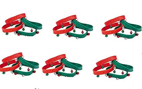 OTC (24) Christmas Jingle Bells Rubber Bracelets with Metal Jingles ~ Holiday Party Favors Prize ~ Secreet Santa School Teacher Gifts ~ Parade Accessory ~ Imprint Jingle All The Way ~ New ()