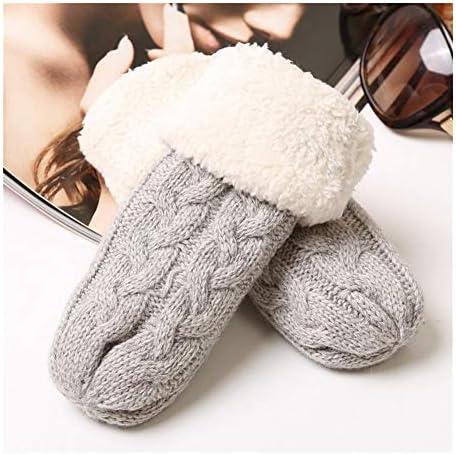 手袋 日常 実用 男性と女性の赤ん坊のプラスベルベット暖かい手袋のための子供のニットウール手袋 (Color : Gray, Size : One size)