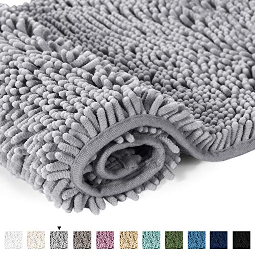 H.VERSAILTEX Microfiber Bath Rugs Chenille Floor Mat Ultra Soft Washable Bathroom Dry Fast Water Absorbent Bedroom Area Rugs Gray, 20 inches by 32 inches (Garden Bathroom Rugs)